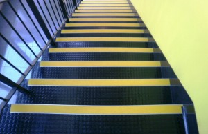 Contrasting Nosing Strips on a Stairway