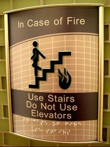 Do not use stairs in an emergency